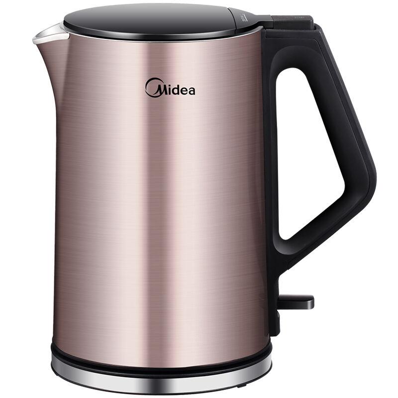 【当当自营】 Midea美的电水壶WHJ1510b 不锈钢电热水壶 烧水壶【货到付款】支持礼品卡  一体无缝内胆 大角度开盖设计