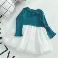婴幼儿童女宝宝拼接裙唯美可爱淡青绿色毛衣拼接纱裙