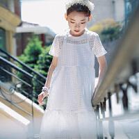 女童沙滩裙夏装2018新款裙子儿童海边度假公主裙中大童镂空连衣裙