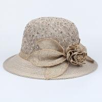 女士夏季盆帽时尚老人奶奶遮阳帽中老年女防晒太阳帽透气妈妈礼帽