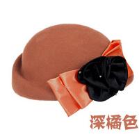 秋冬天羊毛呢毡帽气质女空姐帽韩版冬季帽子小礼帽