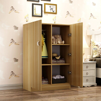 小孩小型衣柜实木质学生简易组装2门板式衣橱简约现代经济型 A款浅胡桃色 2门