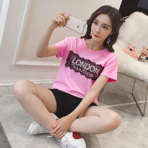 【班图诗妮】2018休闲套装女新款韩版时尚短袖T恤松紧腰短裤两件套