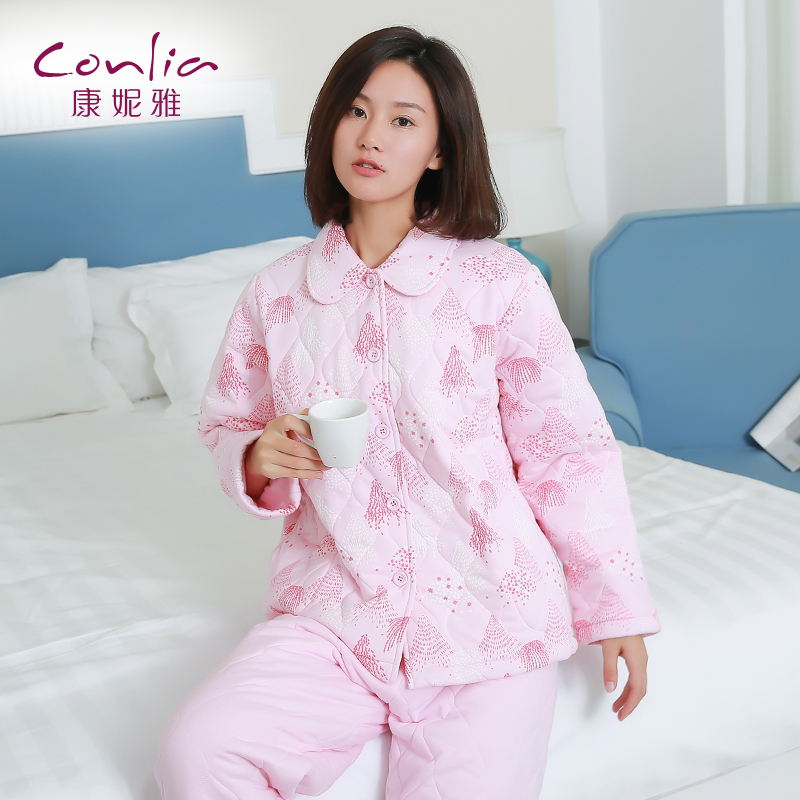 康妮雅家居服 女士冬季针织夹棉简约翻领开衫长袖加厚睡衣套装先领卷后购物 满399减50