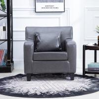 简约现代小户型单人沙发北欧懒人沙发卧室小沙发网咖电脑沙发椅子 灰色 油蜡皮