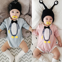 婴儿长袖三角哈衣 新生儿男女宝宝包屁衣0-3-6-9-12个月0-1岁衣服