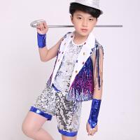 六一儿童演出服男童女童爵士舞服装幼儿园亮片表演服小学生舞蹈服