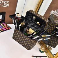 手提化妆箱女大容量收纳包化妆师跟妆包大号多功能便携化妆包 (四开)经典小花