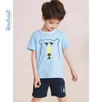 souhait水孩儿童装儿童夏季儿童套装男童套装运动套装SHNXBX09CA526