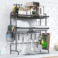 黑色304不锈钢厨房置物架家用2层水槽晾碗架沥水架放碗碟架收纳架
