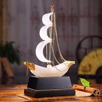 一帆风顺帆船摆件白玉收藏品帆船商务礼品办公装饰摆件