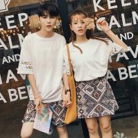 情侣装夏装短袖套装T恤男潮韩版宽松女裙裤学生半袖