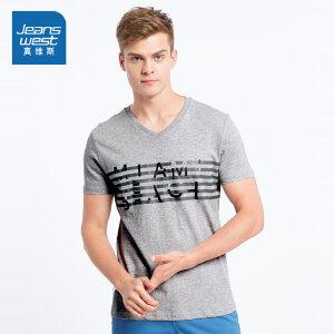 [尾品汇价:38.9元,20日10点-25日10点]真维斯男装 夏装 休闲V领胸间印花短袖T恤