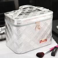 化妆包旅行专业大容量化妆品收纳箱便携手提化妆箱韩版出游收纳盒 银色
