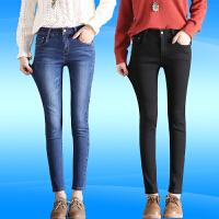 高腰加绒厚牛仔裤女冬季2018春秋新款韩版显瘦百搭黑色小脚长裤