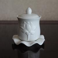 白玉描金浮雕莲花供水杯 陶瓷大悲净水杯圣水杯佛教佛具用品