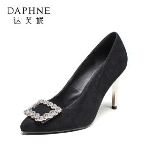 Daphne/达芙妮秋季女单鞋方扣细跟高跟鞋