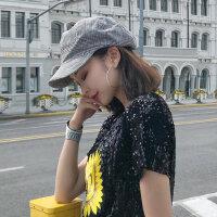薄款英伦复古格子女士帽子 日系简约八角帽子女 新款报童帽鸭舌帽女韩版贝雷帽画家帽