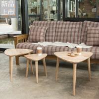 现代简约边几北欧实木茶几小家具客厅沙发边桌三角形多彩角几组合定制