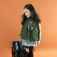 女童外套秋装韩版女孩英伦双排扣宽松秋季中大童短款连帽风衣军绿