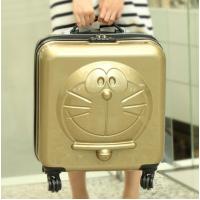 儿童拉杆箱男孩20寸小学生行李箱子母旅行箱可坐骑宝宝万向轮男童 香槟色 机器猫方形