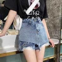 牛仔裤裙韩版短裙子防走光宽松修身时尚夏季牛仔裤女士毛边裙