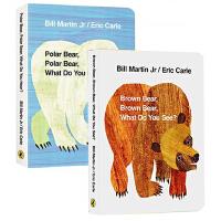 廖彩杏书单英文原版绘本0 3岁 Brown Bear What Do You See 棕色的熊你在看什么4册 Polar Panda Bear 艾瑞卡尔爷爷经典 Eric Carle 纸板书