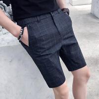 气质夏季新款格子短裤男英伦时尚休闲男士中裤韩版青年休闲5分裤
