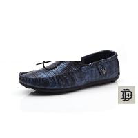 韩版时尚大码潮流鳄鱼纹豆豆鞋子休闲套脚皮鞋透气耐磨一脚蹬驾车鞋帆船懒人