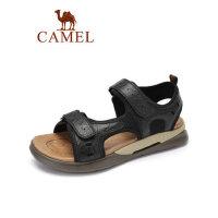 camel骆驼男鞋2019夏季新款户外旅行休闲拖鞋男士透气舒适软底真皮凉鞋
