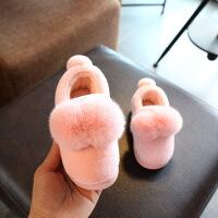女童拖鞋冬包跟棉拖鞋可爱毛绒小公主防滑小孩宝宝室内棉鞋男
