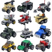 兼容乐高儿童益智拼装军事小积木男孩子玩具塑料小颗粒组装车模型
