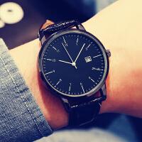 手表女学生韩版时尚潮流简约 大表盘日历男表皮带女表 情侣手表