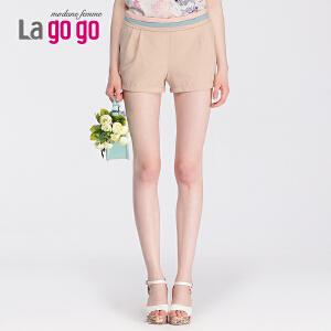 lagogo拉谷谷秋季新款复古撞色缩褶口袋短裤