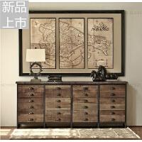 美式铁艺做旧柜子实木斗柜复古收纳柜储物抽屉柜客厅装饰柜电视柜定制定制 整装