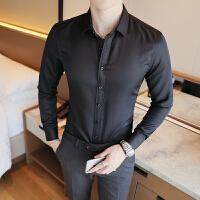 长袖衬衫男士黑色寸衣韩版修身纯色寸衫青年大码工装衬衣商务正装