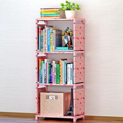 索尔诺简易书架 书柜置物架 创意组合层架子 落地书橱sjsx104简易安装  每层有4根钢管支撑
