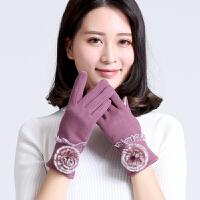 女士手套秋冬季韩版不倒绒手套时尚户外骑车保暖手套触屏手套