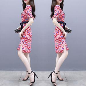 雪纺连衣裙女2018夏季新款韩版喇叭袖显瘦印花开叉中长款碎花裙子