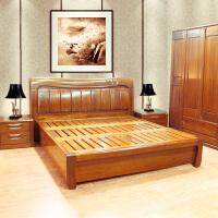 胡桃木全实木双人床 现代中式实木家具1.8米双人大床