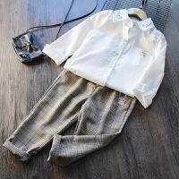 2018春季新款儿童韩版白衬衫格子休闲裤套装女童纯棉文艺风两件套
