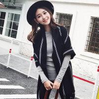 韩版披肩长款双面百搭格子披肩围巾围巾女加厚两用女士围脖