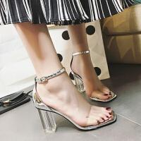 夏季透明高跟鞋凉鞋性感一字扣带粗跟水晶女鞋潮