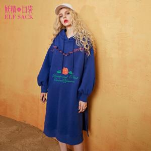 妖精的口袋玫瑰物语秋装新款宽松灯笼袖连帽加绒连衣裙女