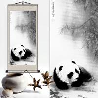 中国风国宝熊猫装饰画挂画送客户老外外事出国礼物卷轴画定制 H 熊猫 200*95CM