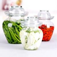四川泡菜坛子透明玻璃加厚无铅腌菜缸小号密封罐泡菜10淹玻璃罐