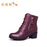 红蜻蜓短筒靴女新款冬季时尚英伦风粗跟棉靴子女高跟短靴