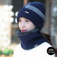 户外加绒毛线帽子女士针织保暖脖套骑车防风围脖两件套帽