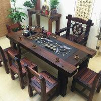 老船木茶桌椅�M合中式��木家具功夫泡茶�_茶�钻��_��s�k公茶�桌 整�b