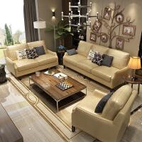 办公沙发真皮美式商务接待室会客简约洽谈办公室沙发茶几组合